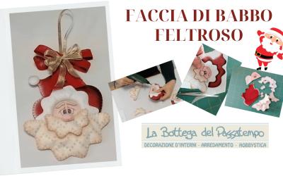 Decorazione Natalizia – Faccia di Babbo Natale Feltroso